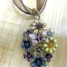 Flowers pendant multicolour on organza fashion necklace - brand new