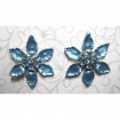 Blue flower with crystals fashion earrings {1971E}