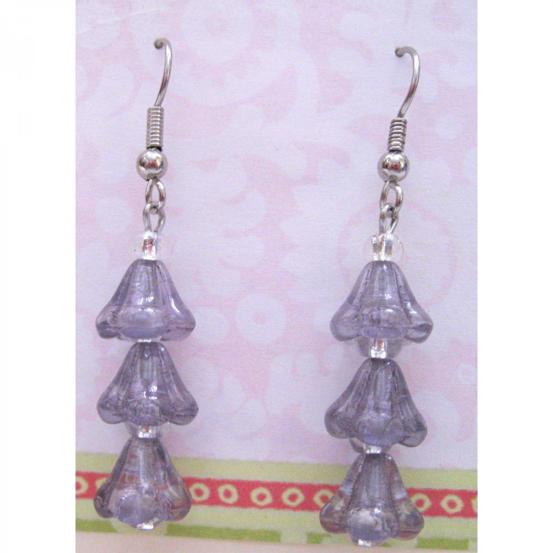 Lavender flower drop fashion earrings