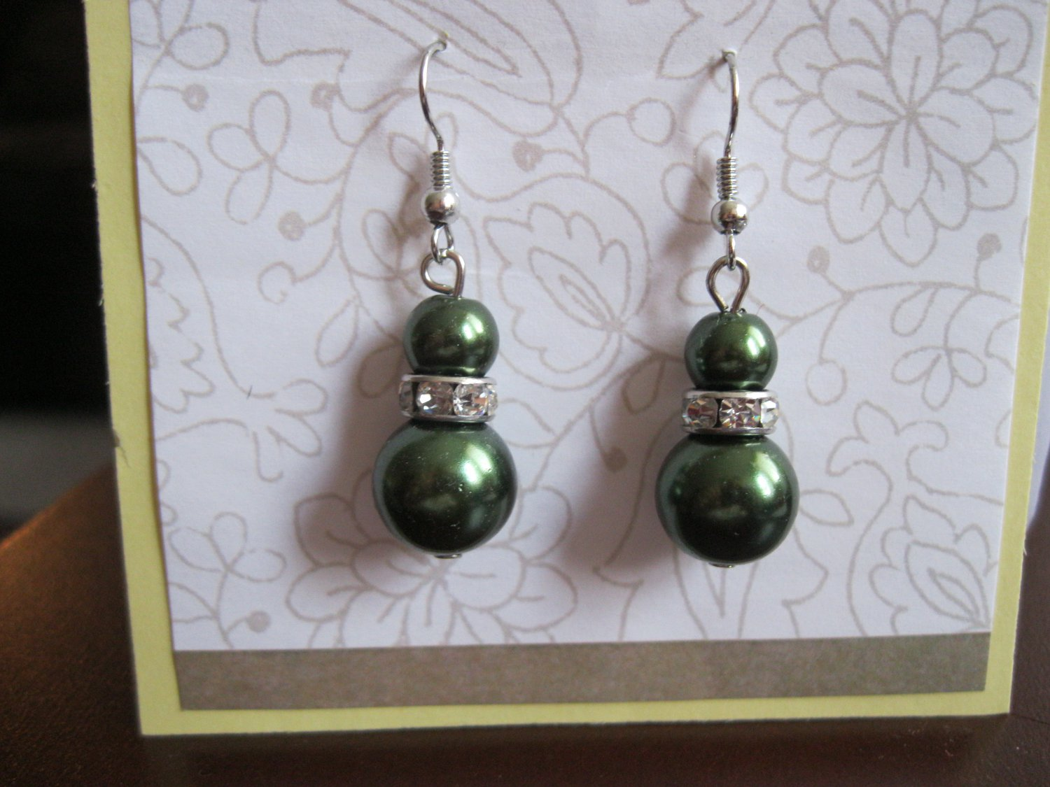 Green fashion drop faux pearl earrings with crystals
