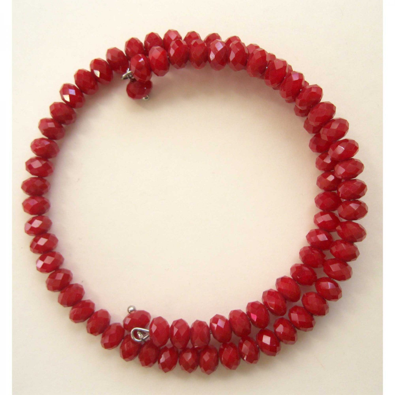 Red hot coil memory wire Czech glass faceted fashion bracelet