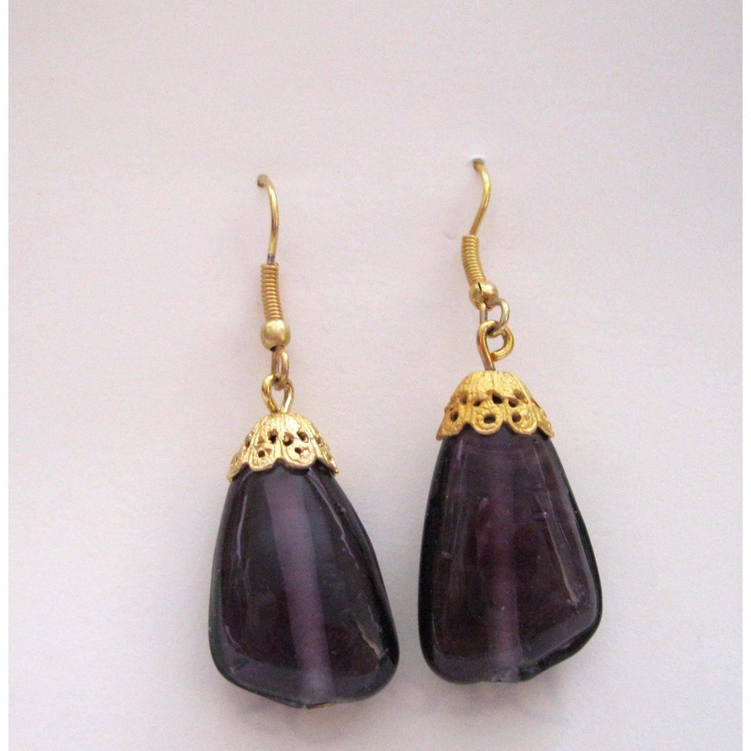 Purple fashion drop earrings with French earwires NEW Lucine Designs