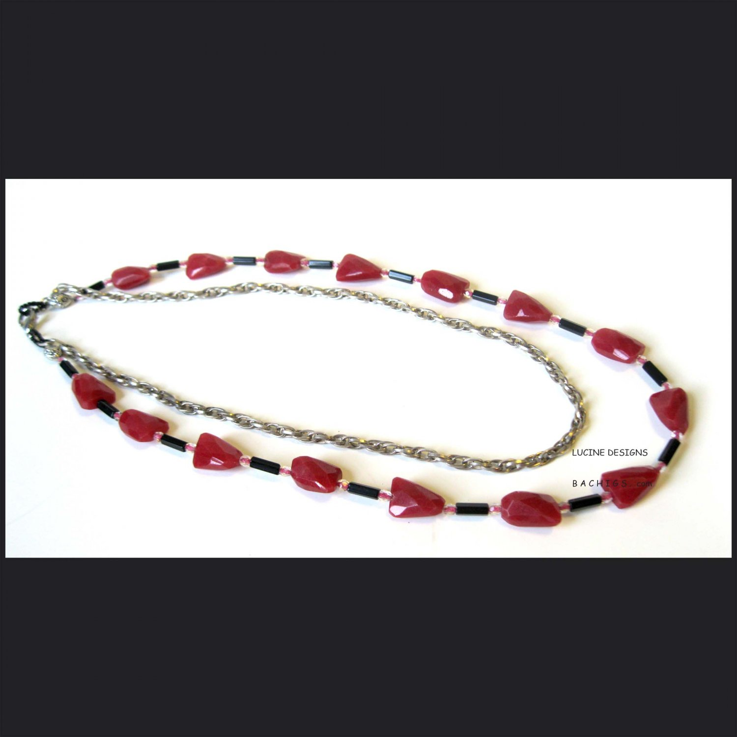 Ooak red semiprecious fashion necklace with silver and black, Jewelry, one of a kind, Chic