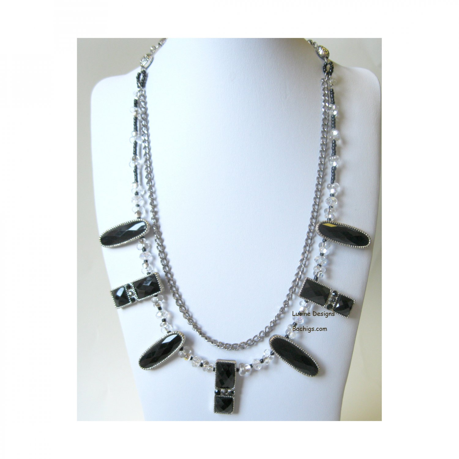 OOAK black and silver chain layered fashion necklace Lucine Designs {3086N}