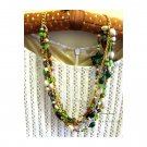 Ooak green brown layered statement fashion necklace, Jewelry, one of a kind, Chic