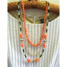 Coral and green, black layered designer necklace,one of a kind, Chic