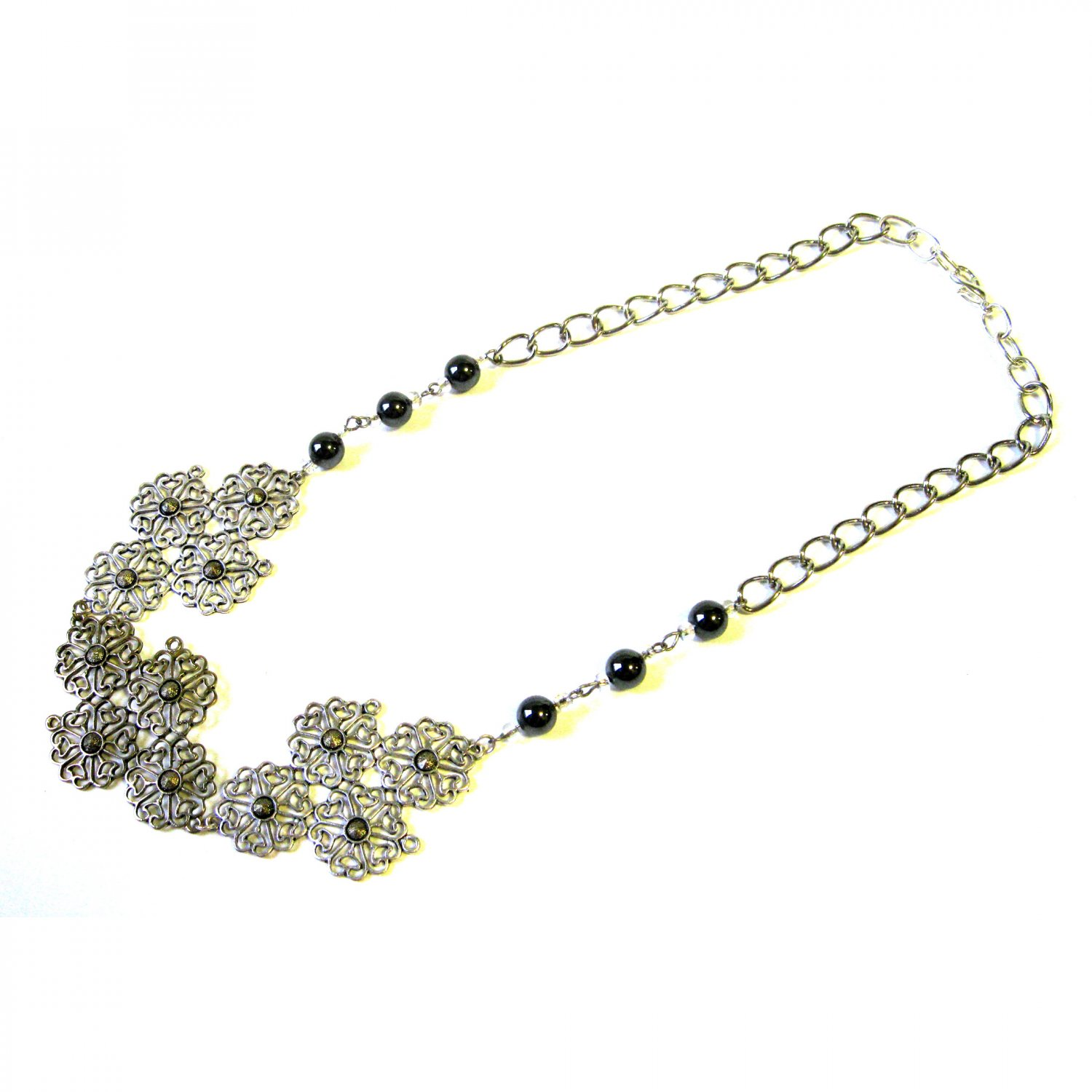 Lacy silver gold trendy statement ooak fashion necklace with hematite