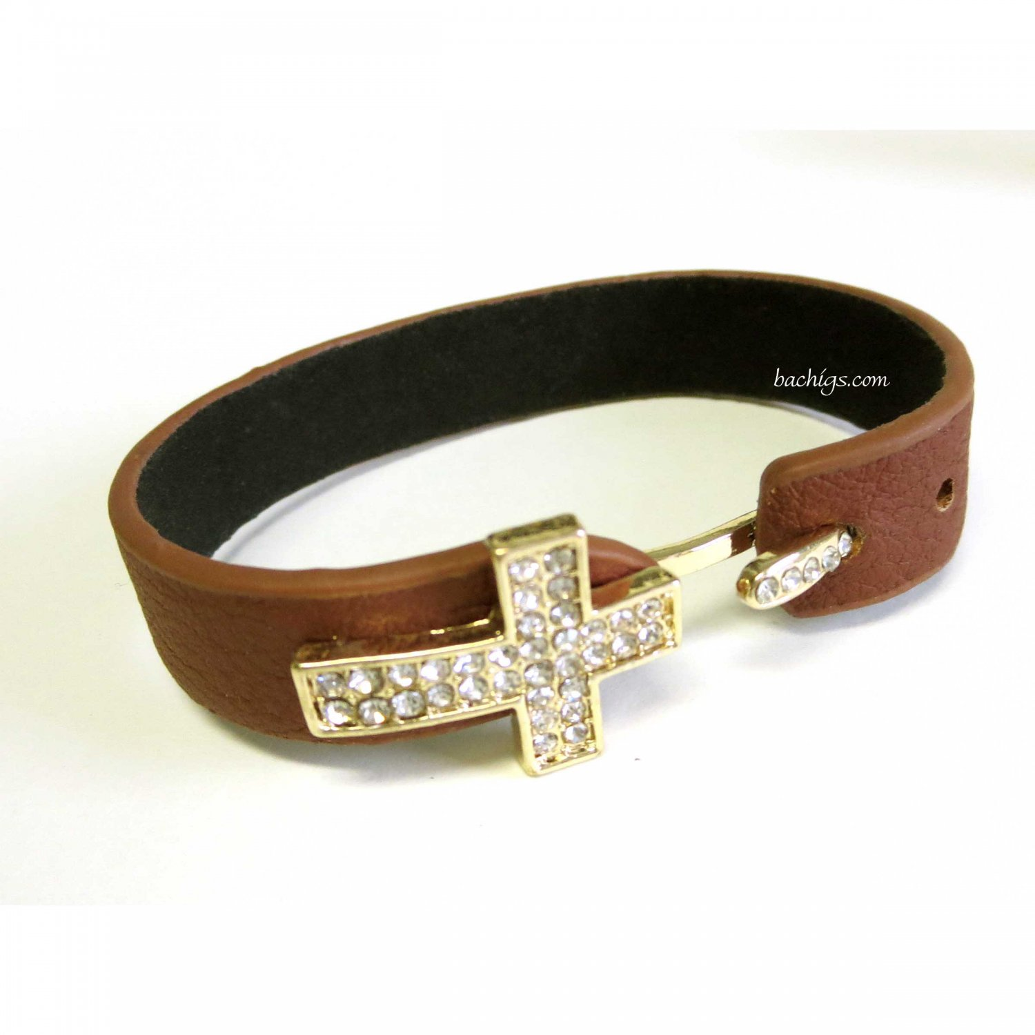 LATEST MUST HAVE TRENDY BROWN CROSS BRACELET WITH CRYSTALS