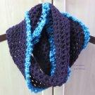 Wool eggplant/purple and turquoise trim crochet infinity neckwarmer by Lucine