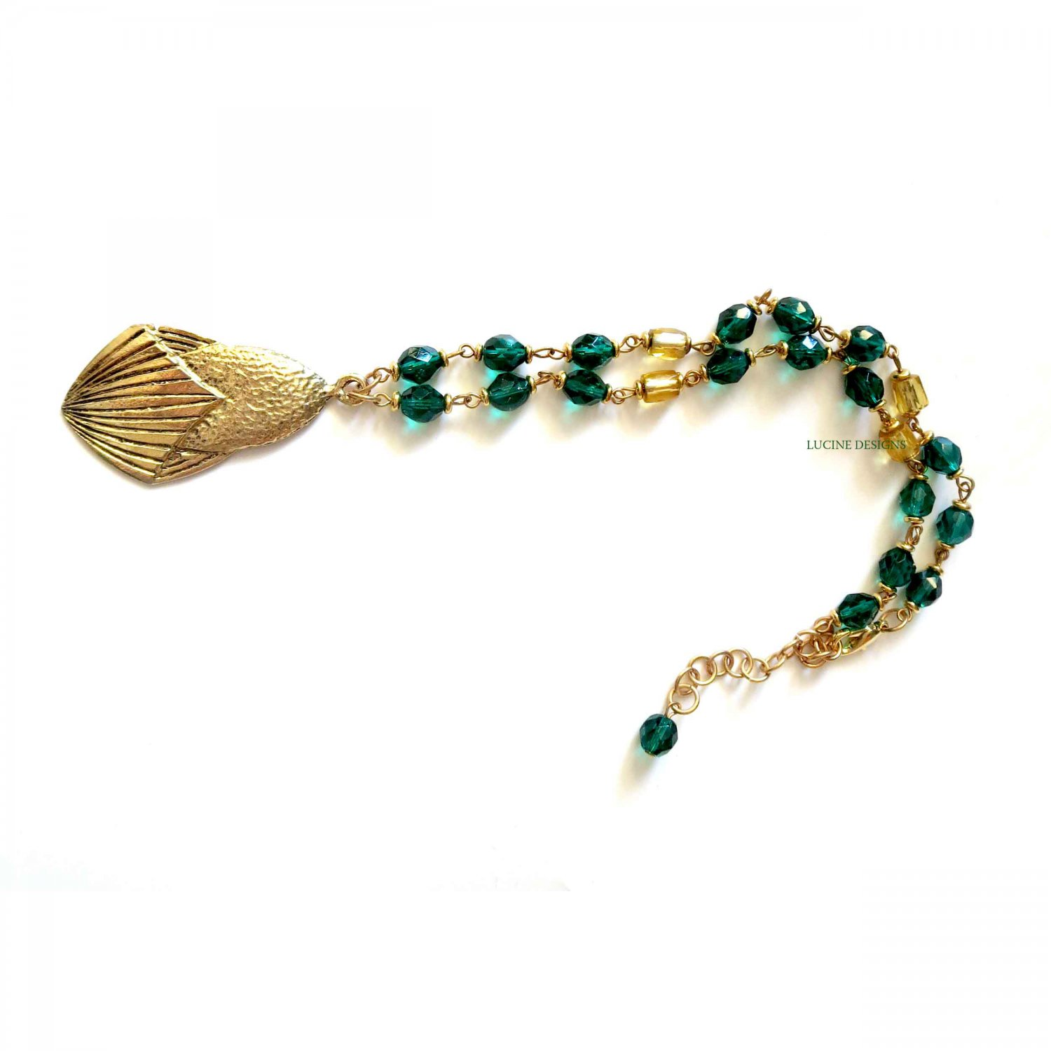 Green and gold ooak fashion necklace by Lucine