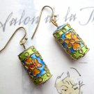 Multicolour green turquoise orange fashion drop earrings