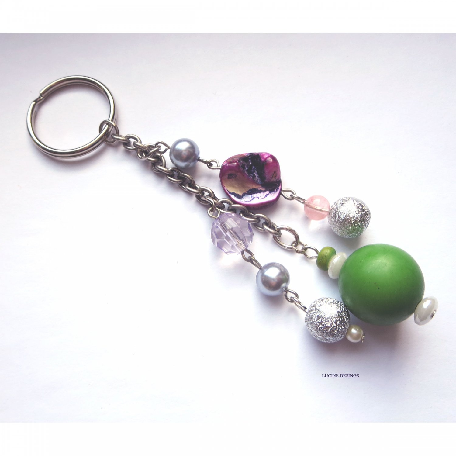 OOAK fashion keychain accessory purple green mop by Lucine Designs