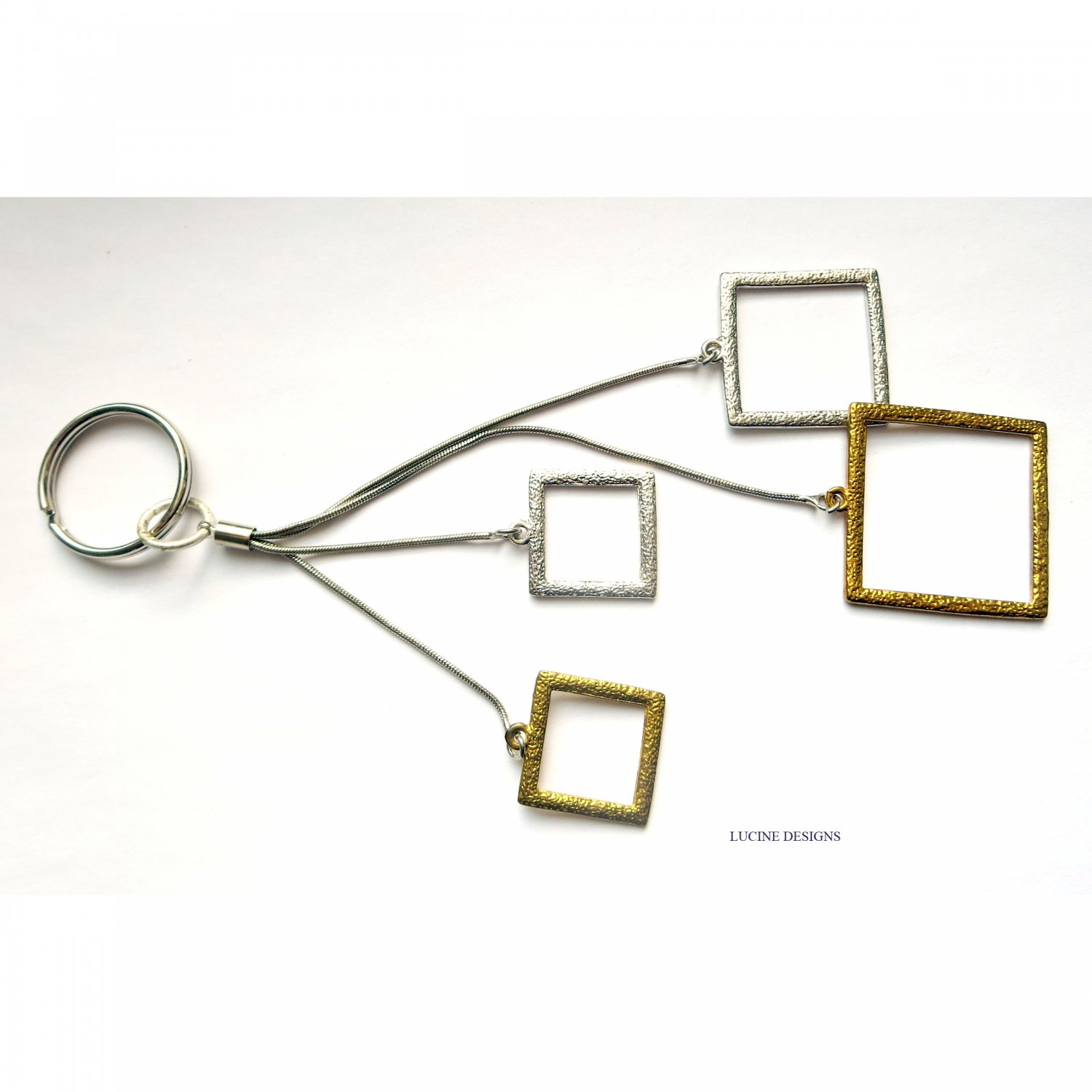 OOAK fashion keychain accessory in gold and silver squares geometric