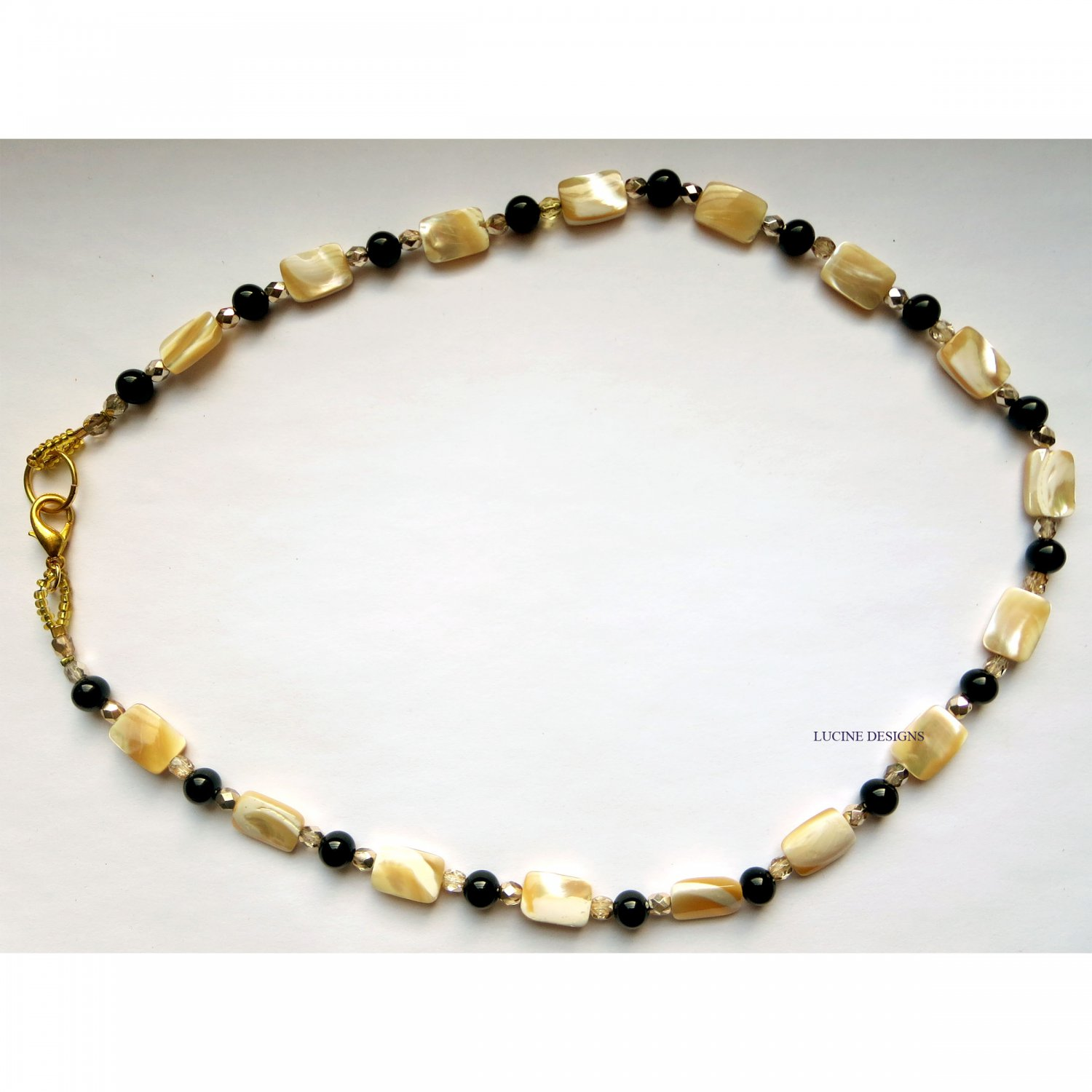 Semiprecious onyx with mother of pearl trendy long fashion necklace by Lucine