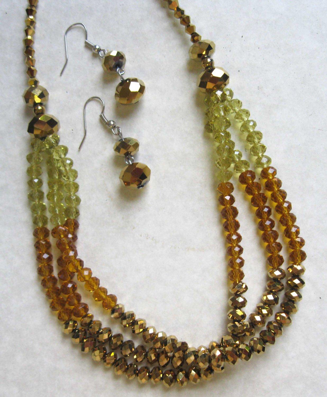Triple row brown honey yellow fashion necklace +earrings set