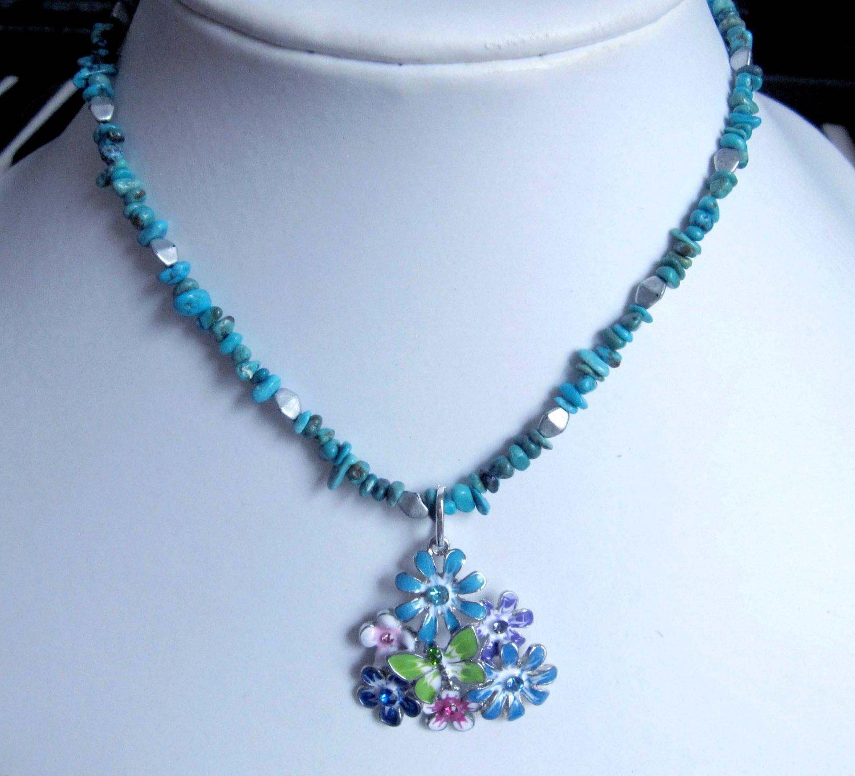 Fashion jewelry designer necklace semiprecious stone turquoise multicolour flower pendant ooak