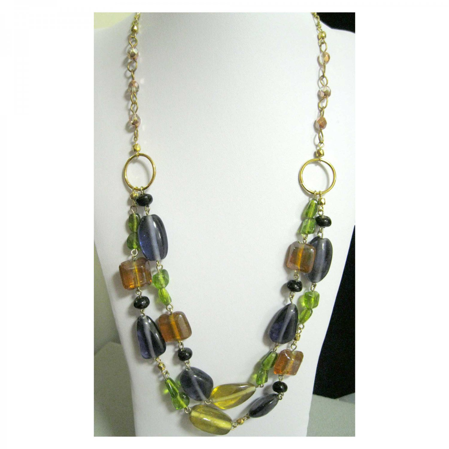 Fashion jewelry designer necklace multicolour ooak purple green gold black glass