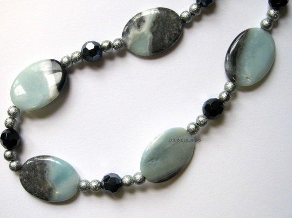 OOAK semiprecious kiwi jasper necklace fashion jewelry