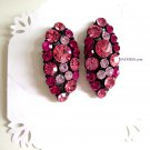 Fuschia hot pink with crystals earrings party bridal jewelry