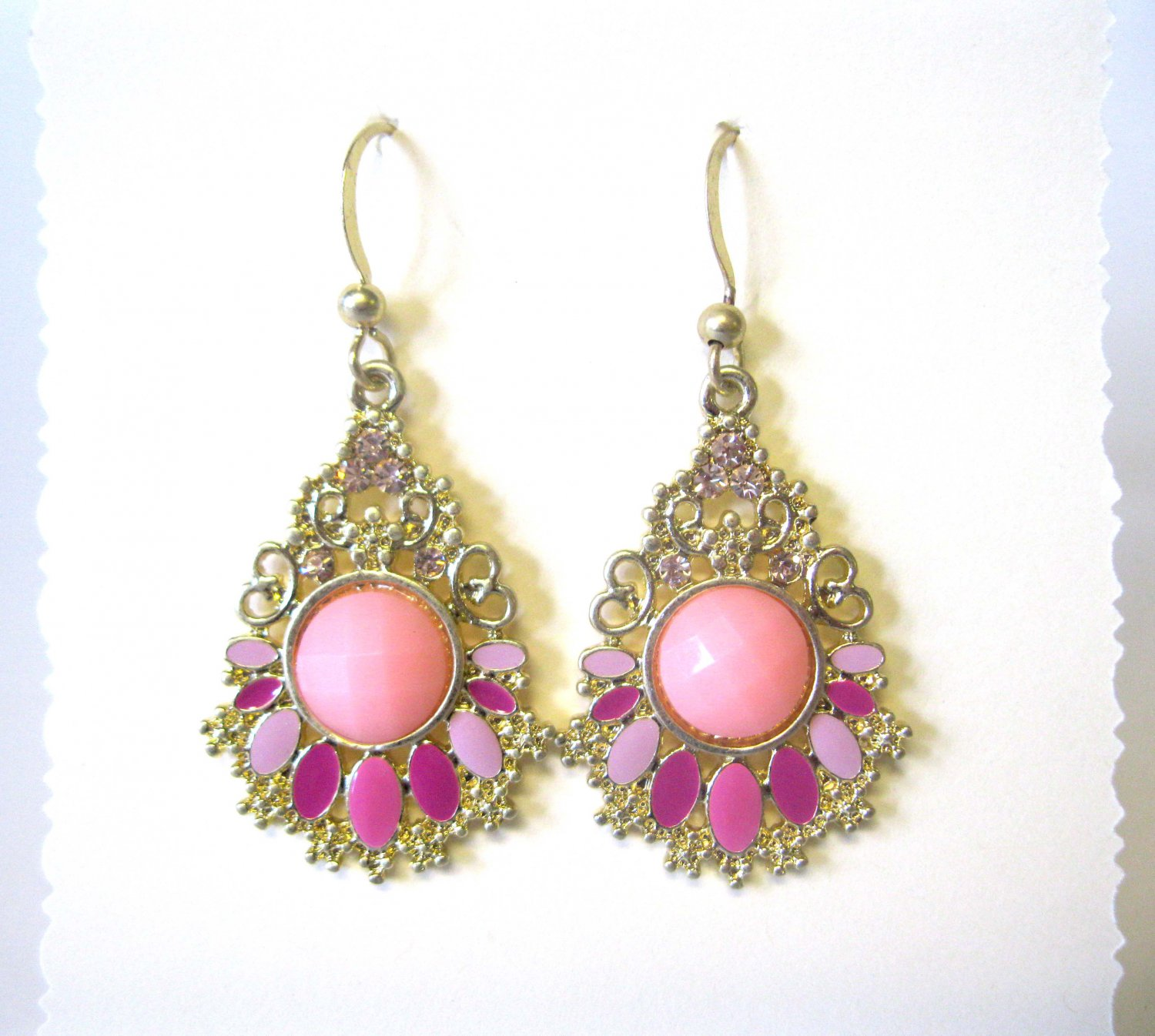 Pink and fuschia with crystals fashion drop earrings {2577E}