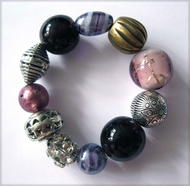 Purple bracelet slip on lampwork glass with crystal