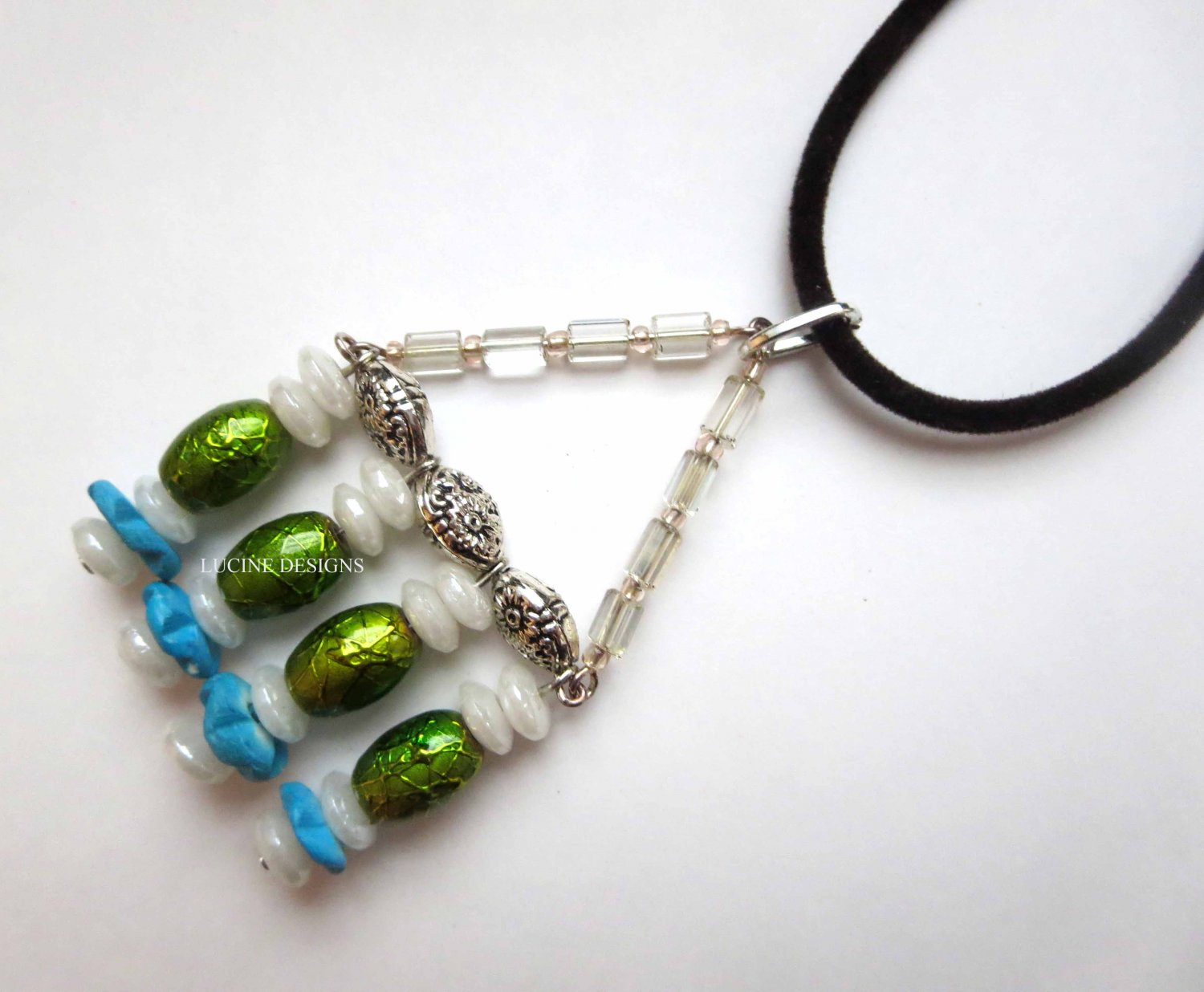 Silver green pendant with black cord fashion jewelry