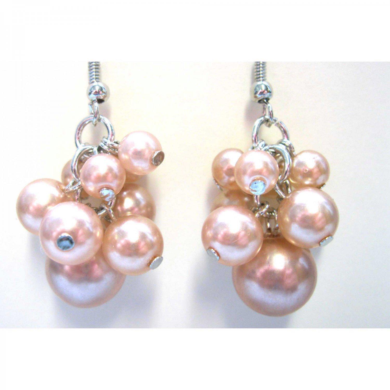 Pearl blush cluster earrings bridal fashion jewelry