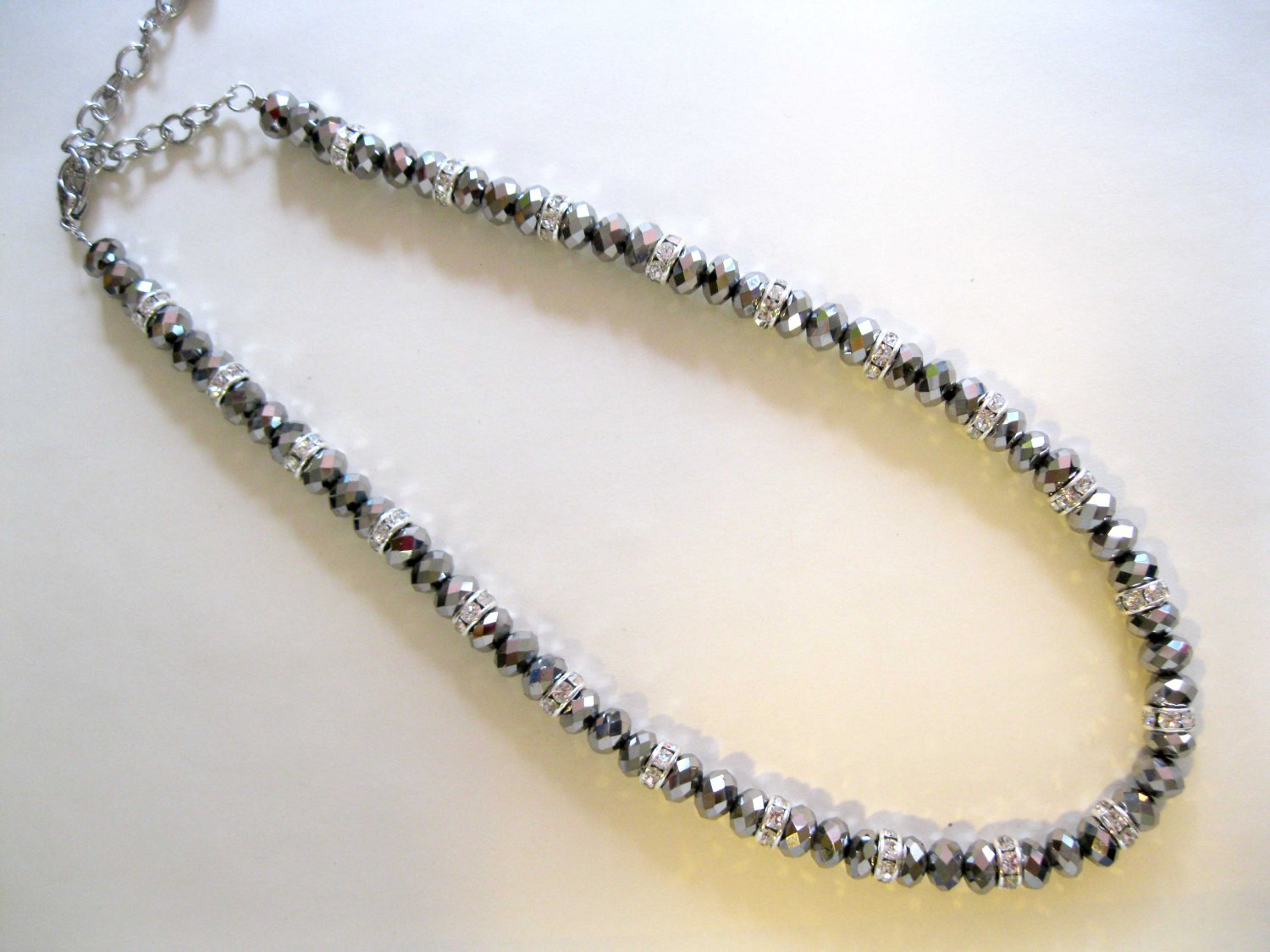 Grey necklace with crystals fashion jewelry gift {1202E}
