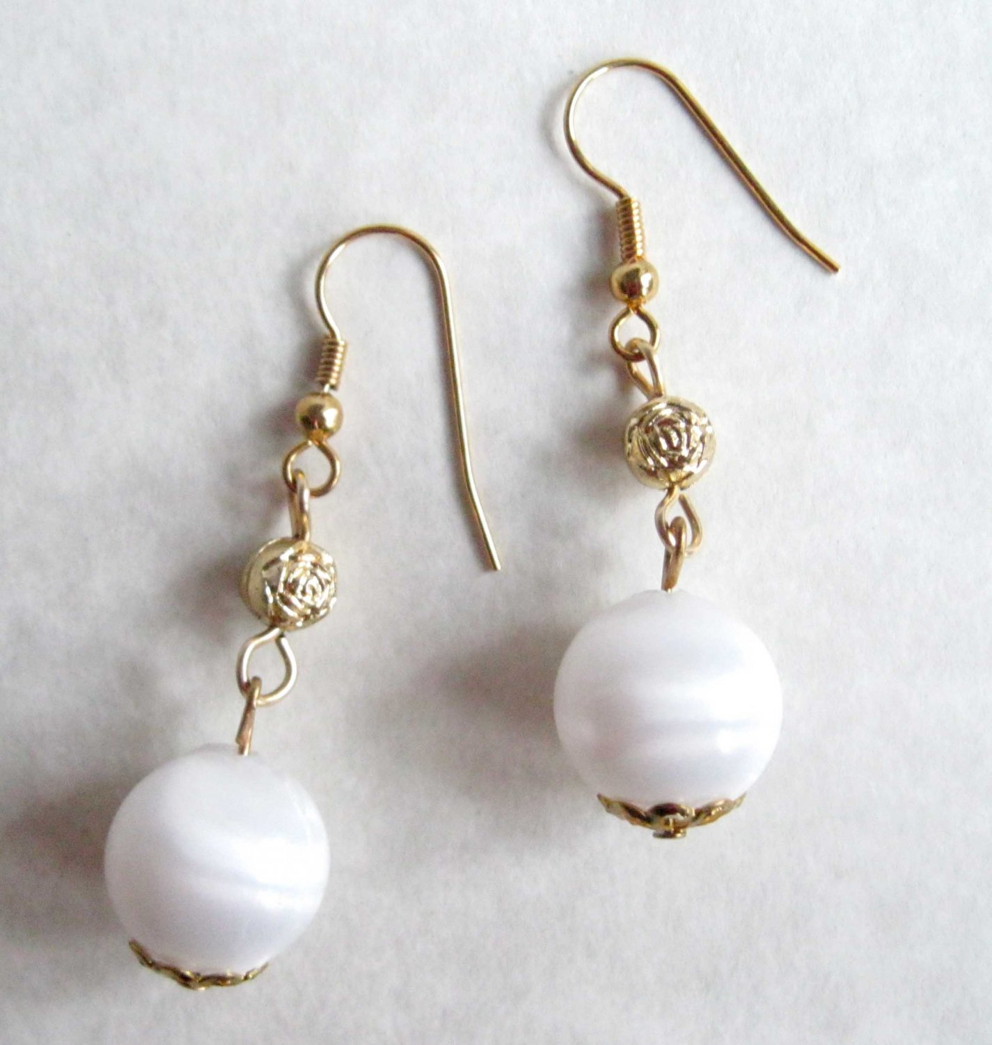 Gold and white drop earrings fashion jewelry