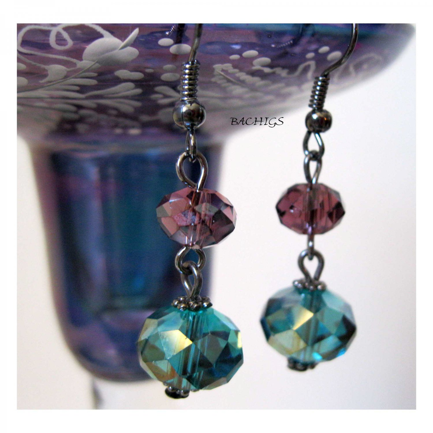 Blue purple drop fashion earrings