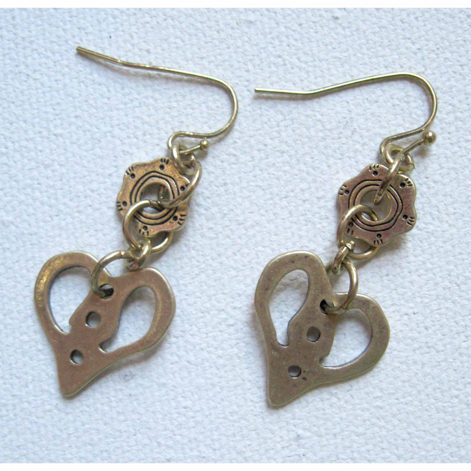 Gold earrings with heart fashion drop jewelry
