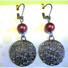 Red and gunmetal earrings fashion drop jewelry