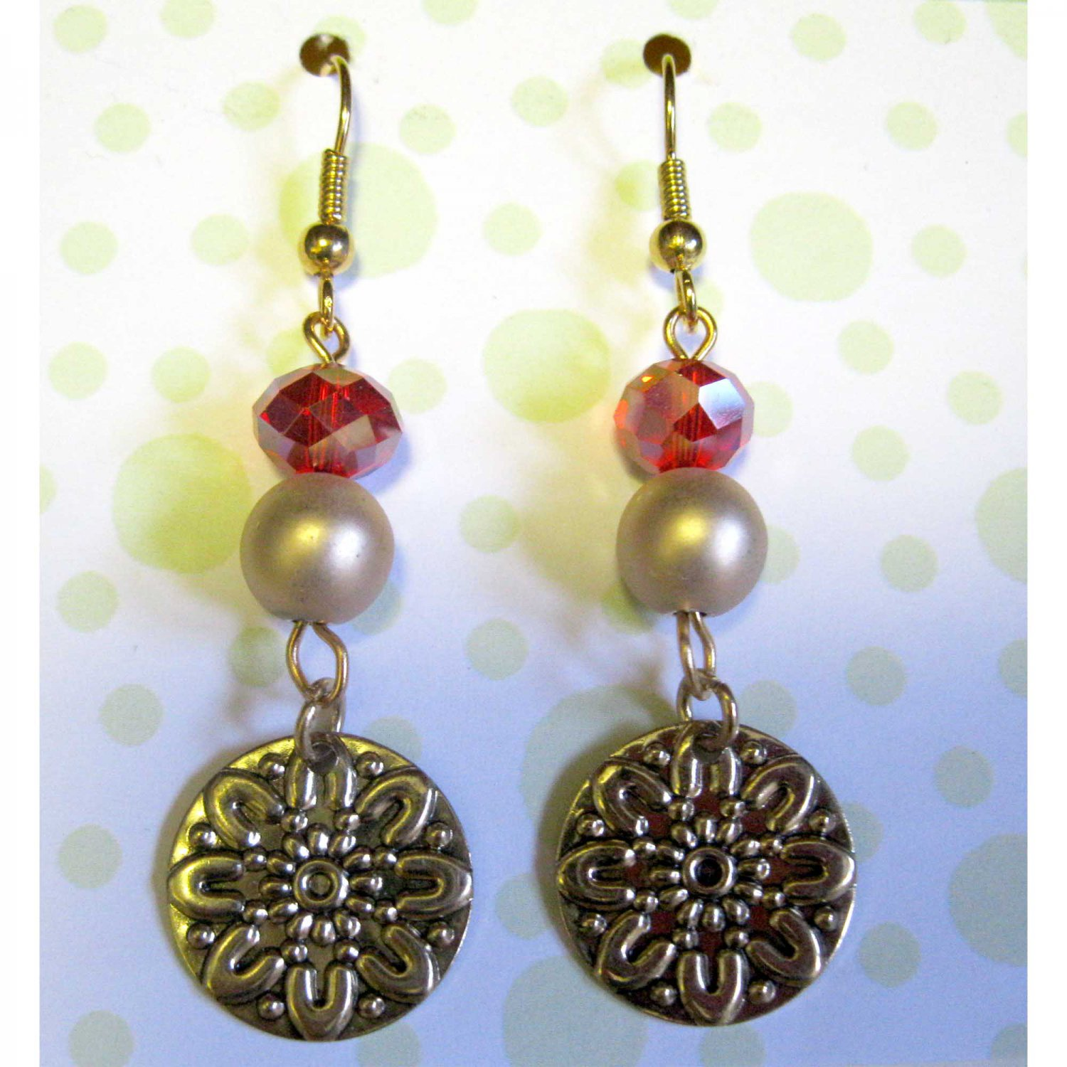 Gold and red earrings fashion drop jewelry