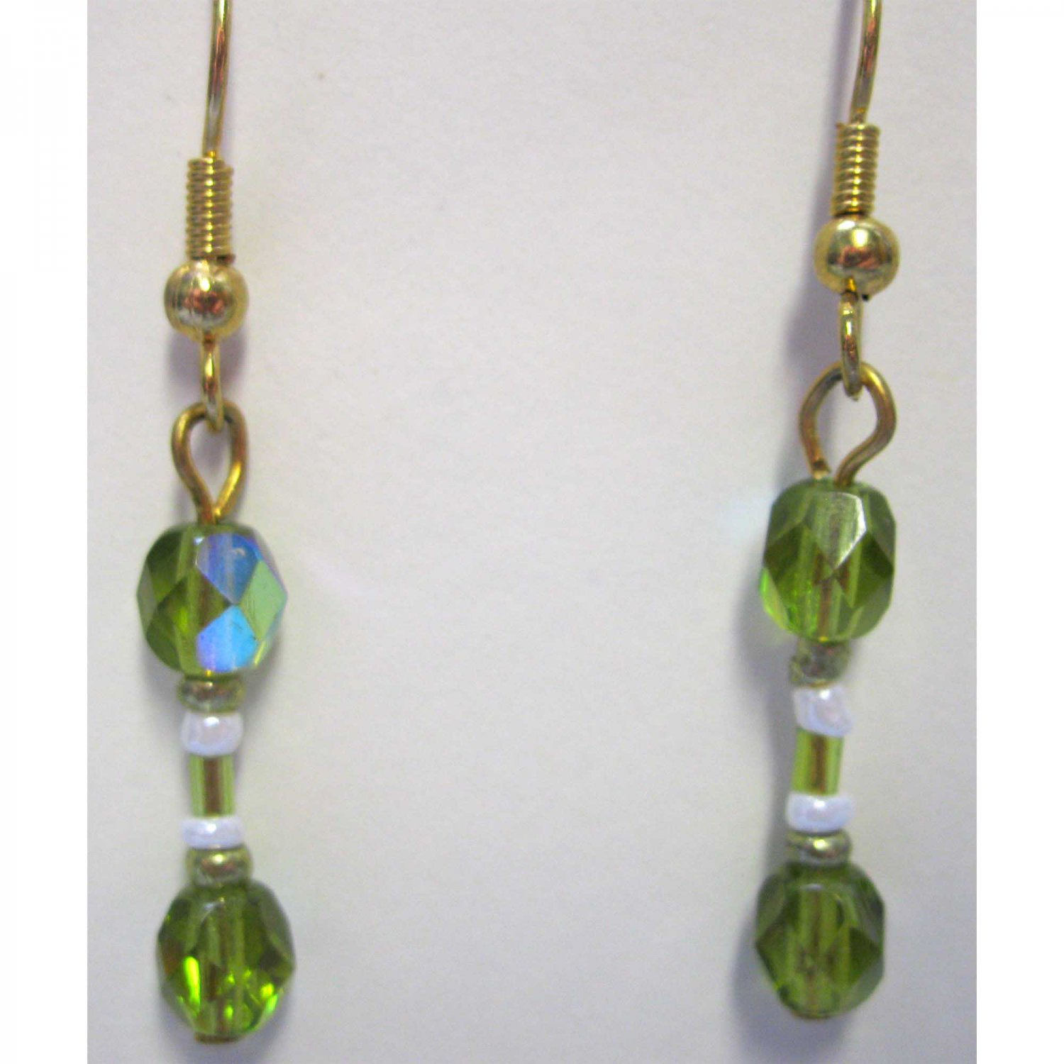 Gold and green earrings fashion drop jewelry