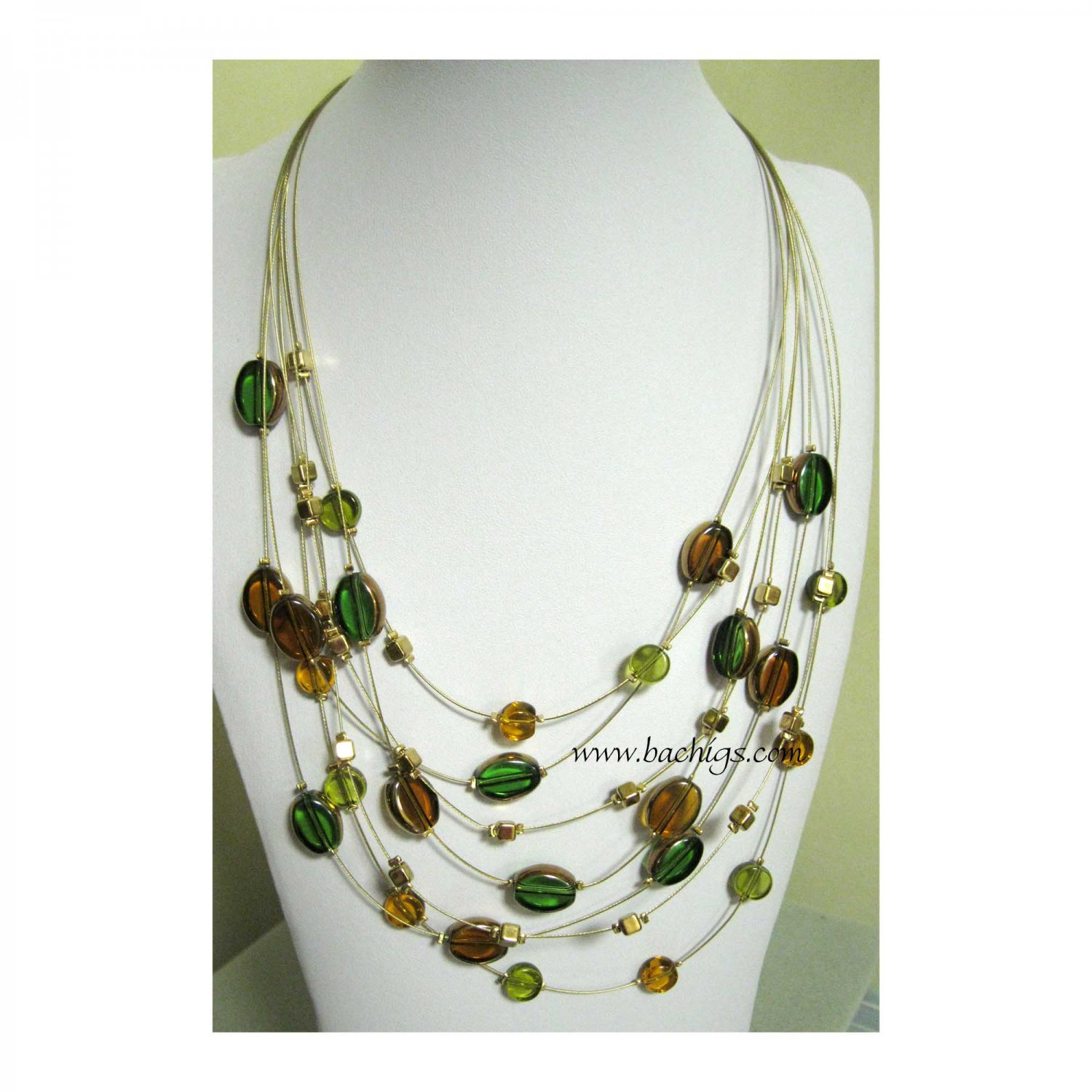 Brown green gold seven rows fashion necklace