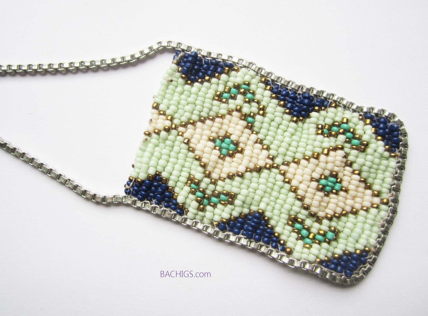 Beaded silver necklace blue and green handmade jewelry