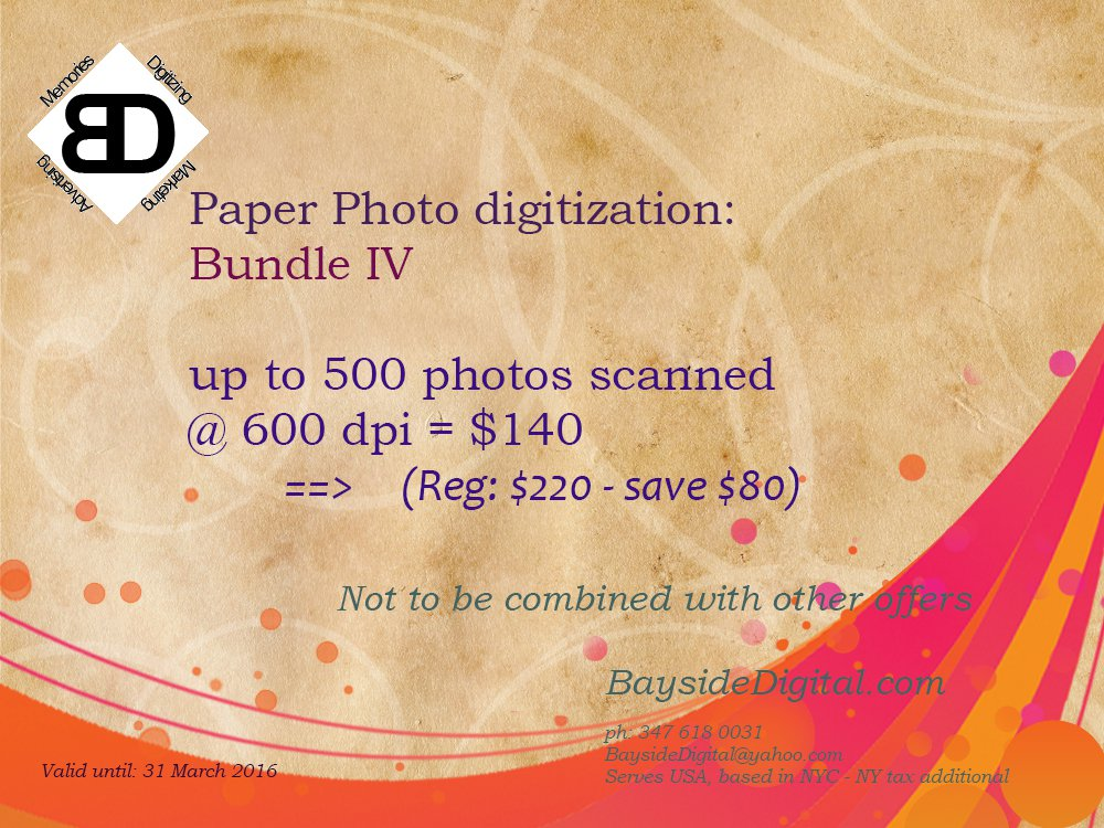 Photo scanning up to 500 digitized at 600 dpi SPECIAL SALE