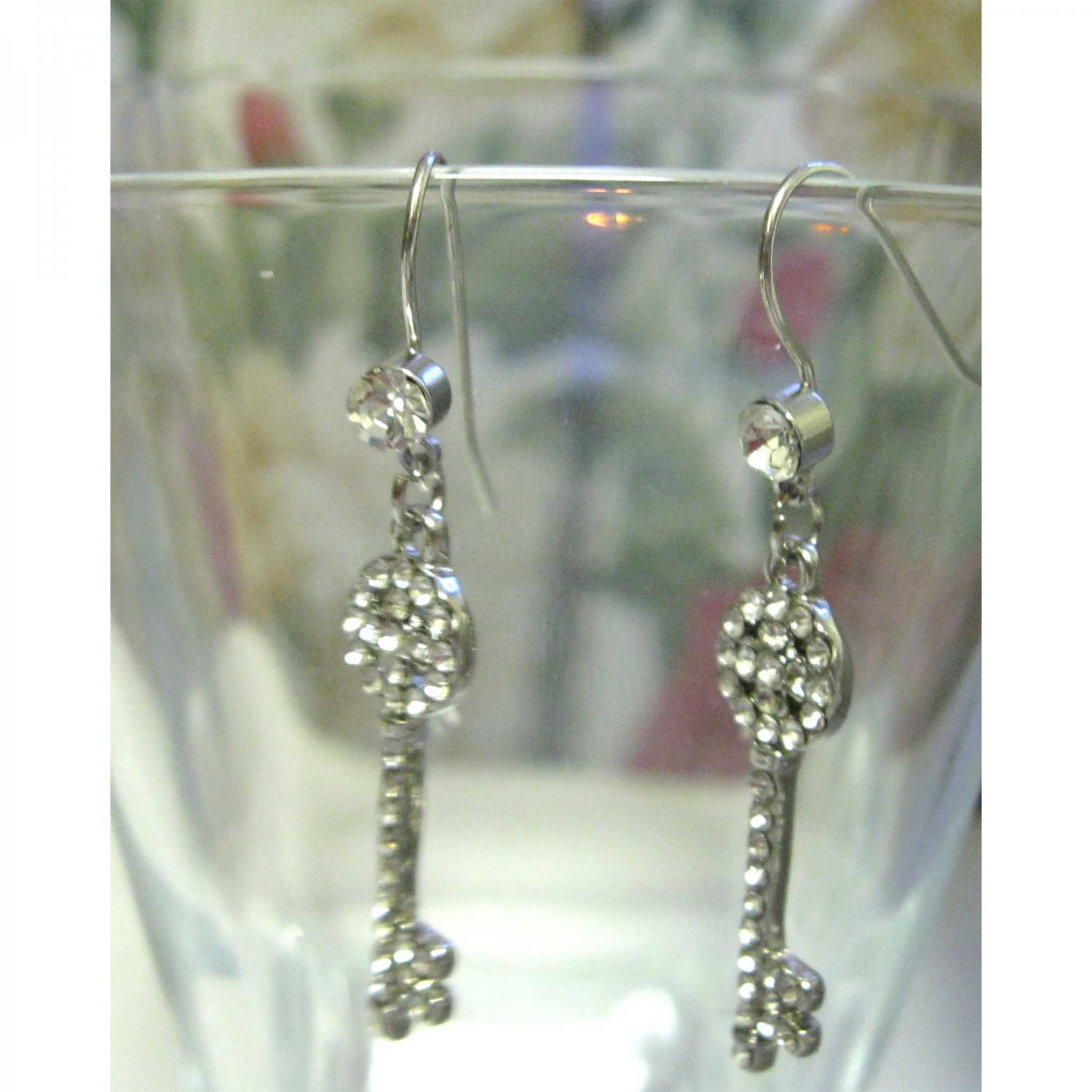 Silver earrings crystals key drop fashion jewelry
