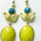 Gold earrings with blue and yellow accents fashion jewelry (2678EG2)