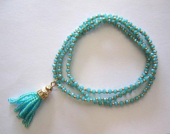 Blue tassel  slip on bracelet fashion jewelry {2868B}