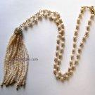 Tassel long necklace beige glass statement jewelry {2876N;2877N}