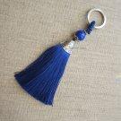 BLUE SILVER LONG TASSEL KEYCHAIN {3155K}