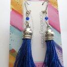 Blue tassel earrings silver boho jewelry