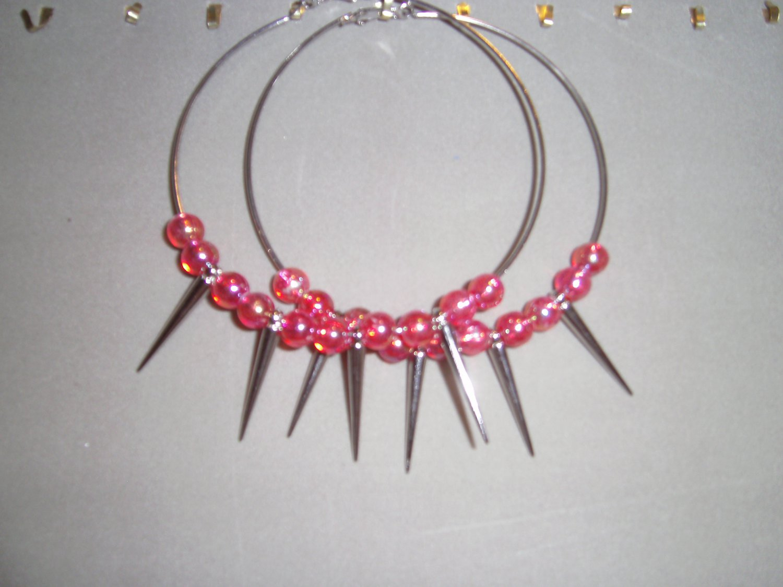 large spike hoops w/beads
