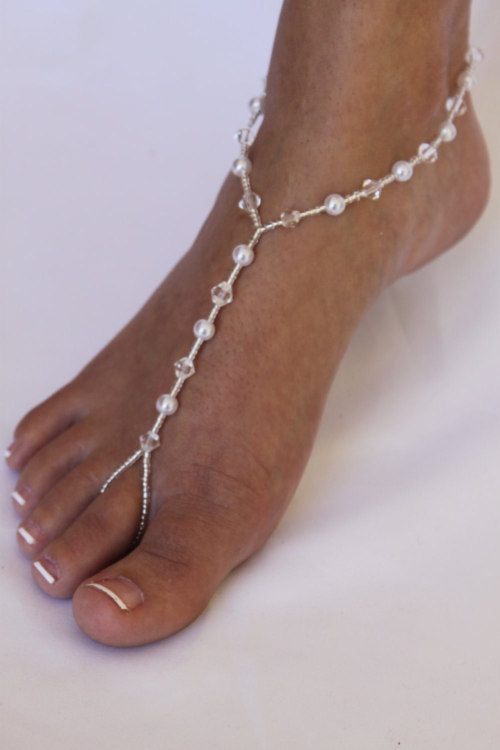 Classic Pearl and Crystal Barefoot Sandals Foot Jewelry