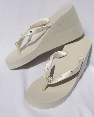 Ivory Wedge Flip Flops Wedding Sandals withCrystals and Rhinestones