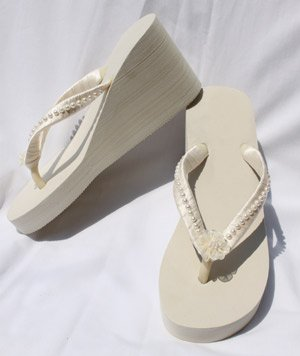 Wedge Flip Flops Beach Wedding Sandals with Pearls and Flower