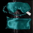 --SOFT PADDED GREEN SATIN SLEEP MASK blindfold travel--