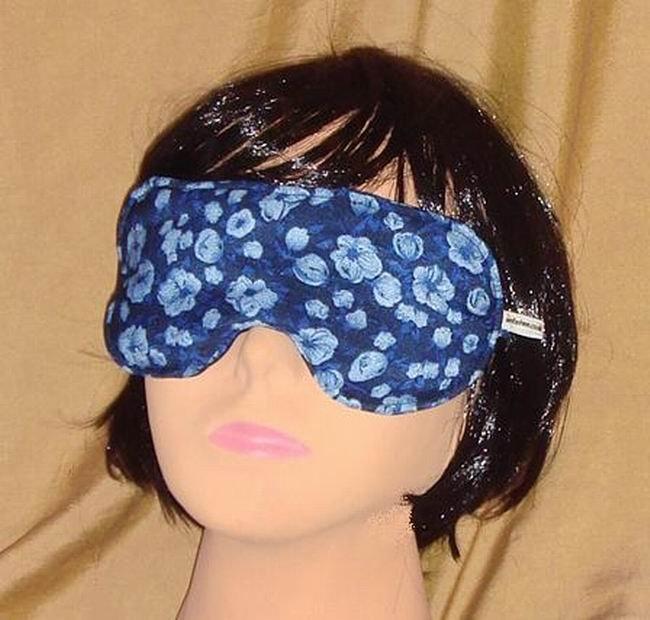 --Soft Padded Eye Sleep Mask Migraine Relief Blue Flowers--