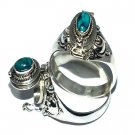 925 Sterling Silver Bali Thin Oval Turquoise Poison Ring